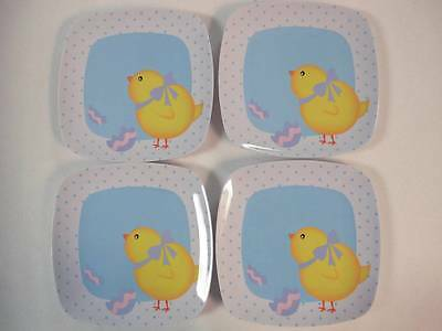 NEW Easter Plates Lot of 4 multiple colors purple & blue Chicken & Egg