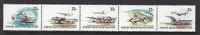 COCOS ISLAND 1981 Aircraft of Cocos Island - MNH Strip of 5
