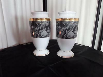 "NORITAKE "" Majestic"" Urn Vases (2) in Black on White Porcelain with Gold Trim"