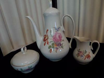 Vintage Pink Rose & FloralsTeapot Cream & Sugar /Stipo Porcelain Romania Dorohol