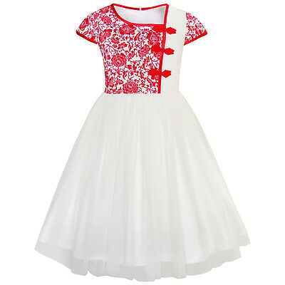 Girls Dress Vintage Color Block Cap Sleeve Birthday Party Size 4-12