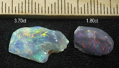 2 LIGHTNING RIDGE BLACK OPAL PIECES WITH BEAUTIFUL COLOURS! 3.70ct & 1.80ct