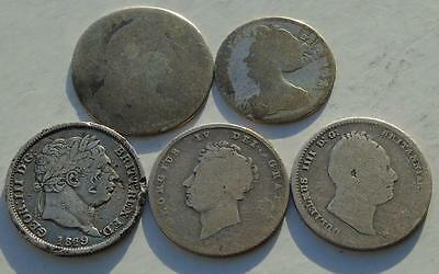 Lot of 5 Early Milled Silver Coins, very worn, 5 Monarchs 4 Shillings & Sixpence