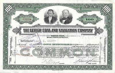 """USA - 1944 """"The Lehigh Coal And Navigation Company COMMON Stock Certificate"""" !!!"""