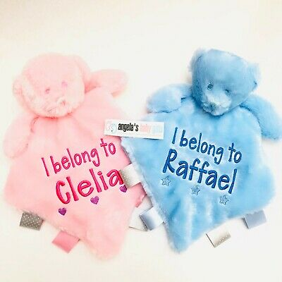 Personalised Baby Soft Teddy Bear Comforter Blanket With Silk Tags New Born Gift