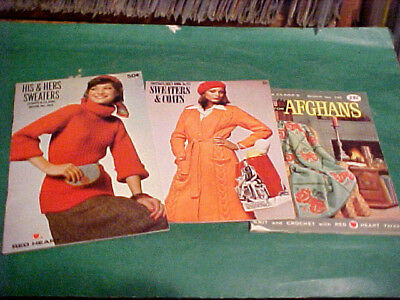 Lot Of [3] Coats & Clark's Knitting Booklets Sweaters
