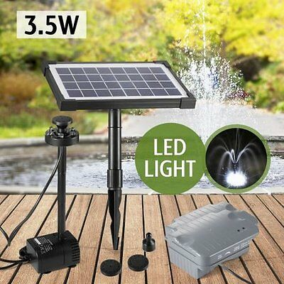 NEW Solar Powered 3.5W Fountain/Pond/Pool Water Pump Kit w/ Timer & LED Lights