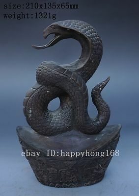 Lucky Chinese Fengshui Purple copper yuanbao 5 Wealth God Snakes Statue