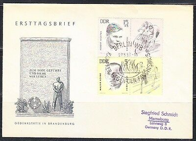 Germany DDR 1963 FDC cover in memory sportsmen victims of the Nazis.Mi 958,960