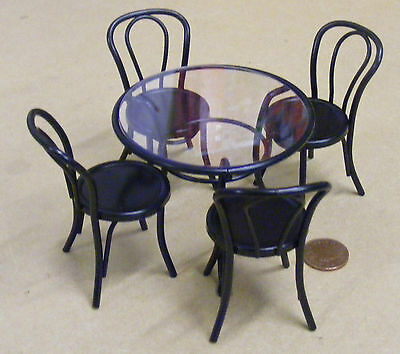 1:12 Scale Black Metal Table & Four Chairs Dolls House Miniature Cafe Pub Garden