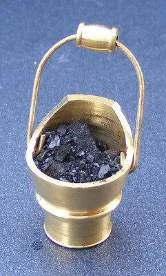 1:12 Scale Brass Scuttle & Real Coal Dolls House Miniature Fireplace Accessory