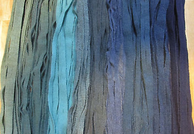 ALL HAND DYED BLUES STASH STARTER  125  #8 Primitive Rug Hooking Cut Wool Strips