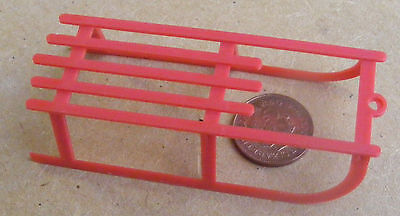 1:12th Scale Large Red Plastic Sledge Toboggan Dolls House Nursery Accessory Toy