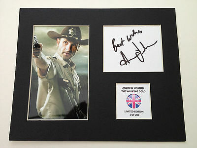 Limited Edition Andrew Lincoln The Walking Dead Signed Mount Display AUTOGRAPH
