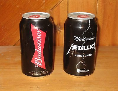 2 METALLICA Budweiser Limited Edition Collectible Beer Can Opened On The Bottom