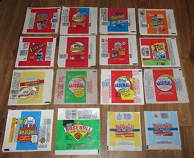 16 Vintage Baseball Empty Wax Pack Wrappers ALL DIFFERENT