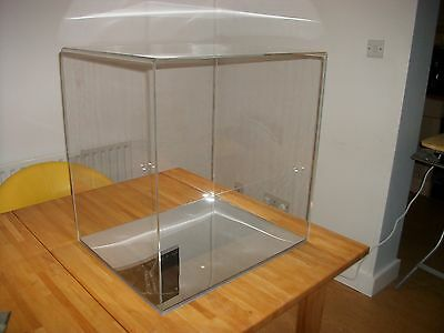 Extra large bespoke model perspex display cases with mirrored base.