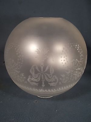Victorian style Wreath & Torch Frosted Glass Antique Kerosene 9.5in Ball Shade