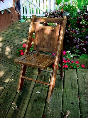 Vintage Antique Hardwood Folding Chair Child's Size Traveling Salesman Sample