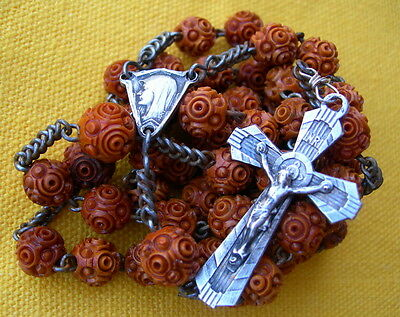 ANTIQUE FRENCH CARVED COROZO BEADS ROSARY chapelet grains corozo