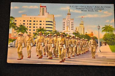 Wwii Usaaf Postcard 'technical Training Command Miami Beach Fl' Mailed In 1942