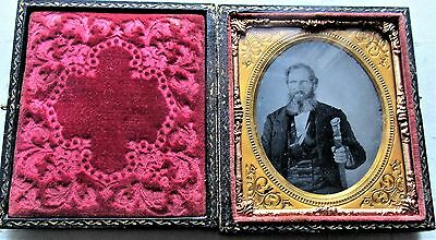 1/6th Plate Ambrotype Cased Photo Man Holding a Ceremonial Cane w Tassels