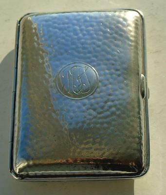 WWI Period Sterling Hammmered Silver Cigarette Case Birmingham 1918 to Officer