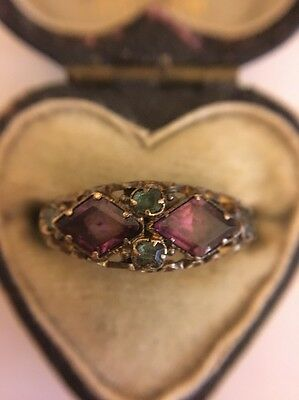 Victorian Antique Yellow Gold 15ct Suffragette Amethyst Emerald Ring