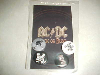"""AC/DC """"Rock Or Bust"""" set of 4 promo only buttons...Brand New - SEALED Package !"""