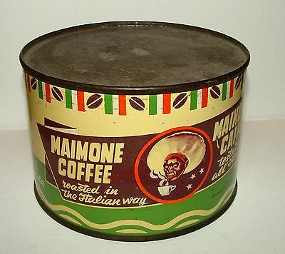 ORIGINAL 1950s MAIMONE ITALIAN COFFEE CAN WITH NATIVE IMAGE - SEALED - FULL