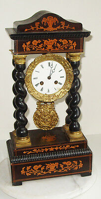French Empire Style Ebonised Mantel Clock Medaille De Bronze
