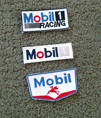 MOBIL Oil Gas  MOBIL 1 Racing 3 Patches Lot of 3 MOBILE Cloth Patches