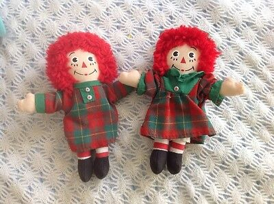 "RARE Vintage Christmas  Tiny Raggedy Ann and Andy Cloth Dolls 5"" Mini Miniature"