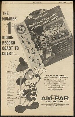 1955 Mickey Mouse art Mickey Mouse Club record album BIG Am-Par trade print ad