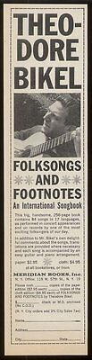 1960 Theodore Bikel photo Folksongs Footnotes vintage print ad