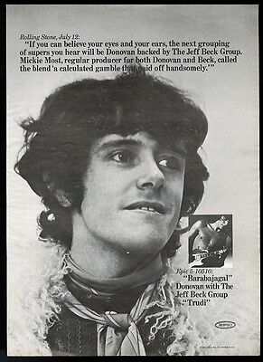 1969 Donovan and Jeff Beck photo Barabajagal song release trade print ad