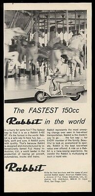 1965 Rabbit 150cc scooter moped pretty girl photo vintage print ad