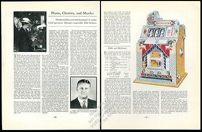 1932 Mills slot machine photo and color art vintage print article