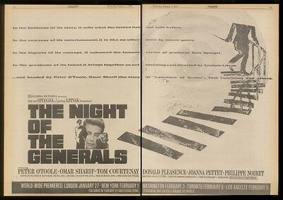1967 Peter O'Toole Night of the Generals movie trade ad