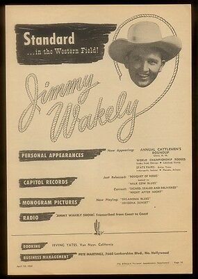 1948 Jimmy Wakely photo   music trade booking print ad