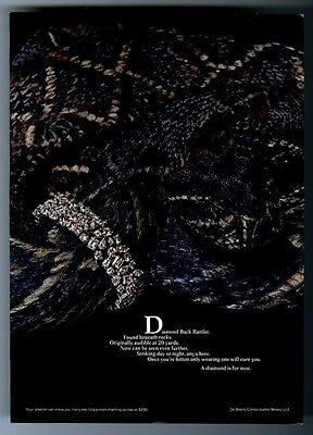 1970 diamondback rattlesnake photo De Beers diamond jewelry bracelet print ad