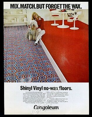 1972 Old English Sheepdog photo Congoleum flooring vintage print ad