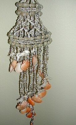 Hand Strung Nat. Florida Bead Shell 3 Tier Wind Chime,whites,brown And Orange