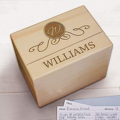 Personalized Family Name Wood Recipe Box Engraved Family Maple Wood Recipe Box