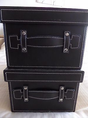 2 x DARK CHOCOLATE BROWN FAUX LEATHER STORAGE BOXES