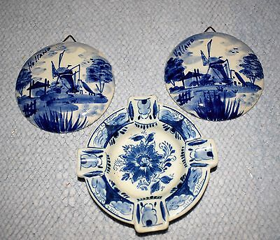 2 Delft Windmill Wall Plaques plus a Hand Painted RAM Ashtray