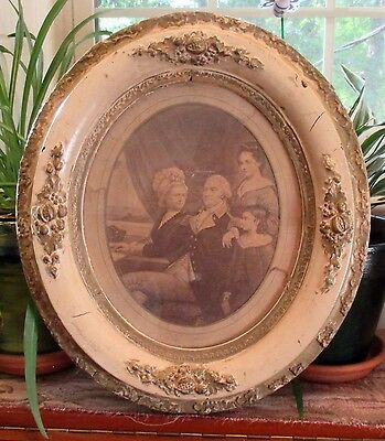 Antique President George Washington Photograph W/ Family In Oval Wood Frame