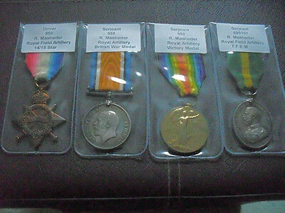 Ww1 Trio & Tfem Medals Sjt Masheder Royal Artillery Very Low Number & Research