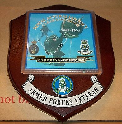 Royal Australian  Navy, Clearance Diver Veteran Wall Plaque personalised free.