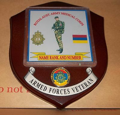 Australian Armed Forces, Royal Aust. Army Medical Corps Veteran Wall Plaque.